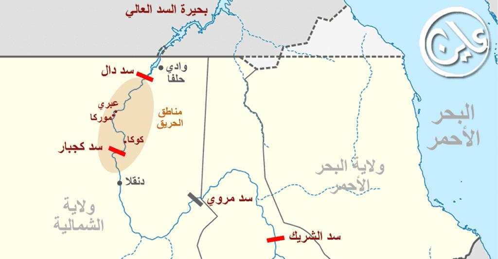 خريطة حرائق النخيل في شمال السودان