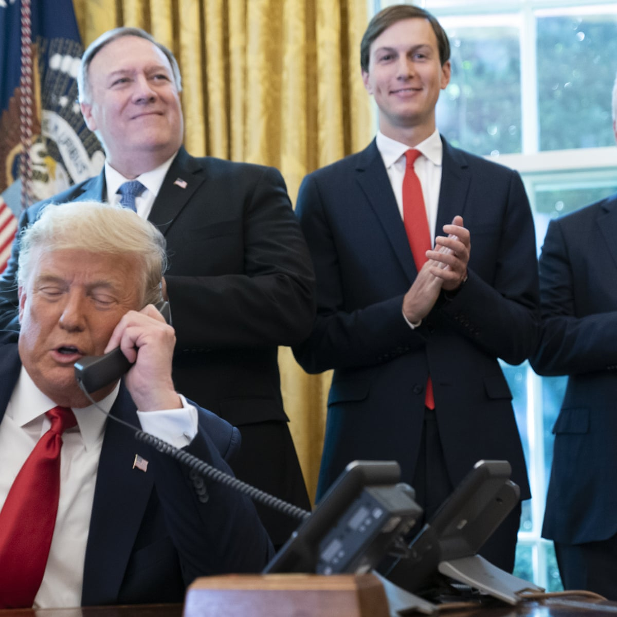 US President Donald Trump, Secretary of State Mike Pompeo and Middle East Peace Advisor Jared Kushner (Social Media)